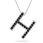 0.34 Cts Black Diamond H Initial Pendant in 14K White Gold