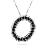 0.36 Cts Black Diamond O Initial Pendant in 14K White Gold