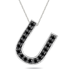 1/3 Cts Black Diamond U Initial Pendant in 14K White Gold