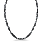 14.00 Cts Fancy - Black Diamond Faceted Bead Necklace Strand 14K White Gold