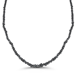 10.00 Cts Black Diamond Strand Rough Bead Necklace in 14K White Gold