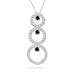 1.18 Cts Black & White Diamond Trio-Cricle Pendant in 14K White Gold