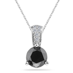 1.80 Cts Black & White Diamond Pendant in 14K White Gold