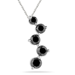 2.23 Cts Black Diamond Five Stone Journey Pendant in 14K White Gold