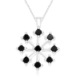 1.14 Cts Black Diamond Pendant in 14K White Gold