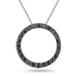 1/4 Cts Black Diamond Circle Pendant in 18K White Gold