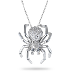 0.47 Cts Black & White Diamond Spider Pendant in 14K White Gold