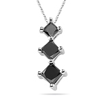 1.15 Cts Three Stone Black Diamond Pendant in 14K White Gold