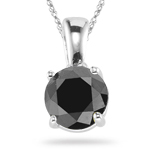 1.10 Cts Black Diamond Solitaire Pendant in 14K White Gold