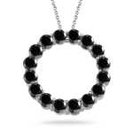 4.75 Cts Black Diamond Circle Pendant in 14K White Gold