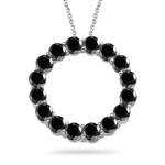 4.75 Cts Black Diamond Circle Pendant in 14K White Gold
