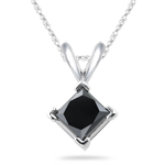 3/4 Cts Black Diamond Solitaire Pendant in 14K White Gold