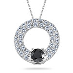 2.25 Cts Black and White Diamond Circle Pendant in 14K White Gold