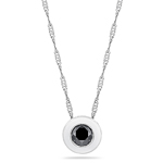 0.62 Cts Black Diamond Solitaire Pendant in 14K White Gold