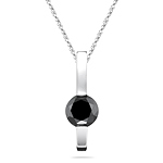 0.58 Cts Black Diamond Solitaire Pendant in 14K White Gold