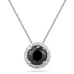 2.60 Cts Black & White Diamond Pendant in14K White Gold