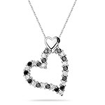 Black and White Diamond Heart Pendant in 14K White Gold