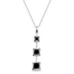 1.25 Cts Black Diamond Three Stone Pendant in 14K White Gold