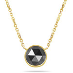 1.66 Cts Black Diamond Solitaire Pendant in 14K Yellow Gold