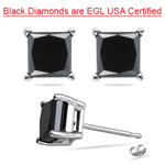 2.00 Cts of 4.55-7.20 mm AA Princess Black Diamond Stud Earrings in 14K White Gold