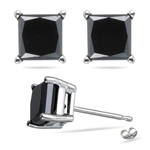 1.00 Ct 3.80-3.99 mm AA Princess Black Diamond Stud Earrings-14KW Gold