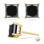 1/2 Cts of 3.00-3.30 mm AA Princess Black Diamond Stud Earrings in 18K Yellow Gold