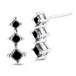 0.76 Cts Black Diamond Three Stone Earrings in 14K White Gold