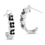 0.52 Cts Black Diamond Huggie Earrings in 14K White Gold