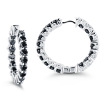 4.49 Cts Black and White Diamond Hoop Earrings in 14K White Gold