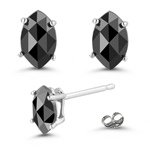 0.66 Ct AAA Marquise Rose-cut Black Diamond Stud Earrings in 14KW Gold
