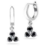 0.96 Cts Black Diamond Three Stone Earrings in 14K White Gold