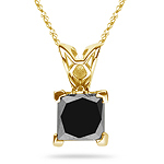 0.95 Cts of 4.8 mm AAA Princess Black Diamond Solitaire Scroll Pendant in 14K Yellow Gold