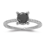 1/2 Cts Diamond & 0.85 Cts Black Diamond Ring in 14K White Gold