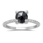 1.33 Cts Black & White Diamond Ring in 14K White Gold