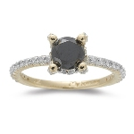 0.48 Cts White Diamond & 0.85 Cts Black Diamond Ring in 14K Yellow Gold