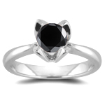 1.10 Cts Black Diamond Ring in 14K White Gold
