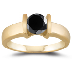 1.05 Cts Black Diamond Solitaire Ring in 14K Yellow Gold