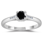 2/3 Cts Black & White Diamond Ring in 14K White Gold