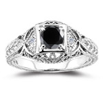 0.71 Cts Black & White Diamond Ring in 14K White Gold