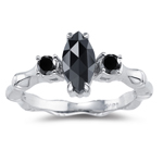 1.25 Cts Black Diamond Three Stone Bamboo Ring in 18K White Gold