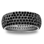 3.93 Cts Black Diamond Eternity Band in 14K White Gold