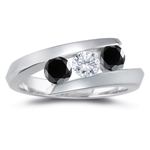 3/4 Cts Black & White Diamond Three Stone Ring in 14K White Gold