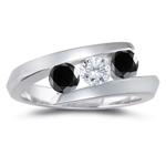 1.14 Cts Black & White Diamond Three Stone Ring in 14K White Gold