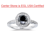 2.00 Cts Black & White Diamond Ring in 14K White Gold