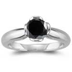 1.30 Cts Black Diamond Solitaire Ring in 14K White Gold