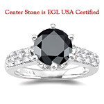 2.65 Cts Black Diamond & 0.43 Cts White Diamond Ring in 18K White Gold