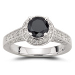 0.80 Cts Diamond & 1.10 Cts Black Diamond Ring in 14K White Gold