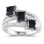3.00 Cts Black & White Diamond Ring in 14K White Gold