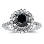 3.20-3.27 Cts Black & White Diamond Ring in 14K White Gold