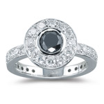 1.88 Cts Black & White Diamond Ring in 18K White Gold